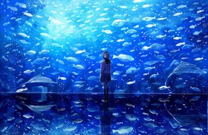 Rating: Safe Score: 44 Tags: animal blue fish kneehighs nomiya_(no_38) original scenic seifuku short_hair skirt User: Flandre93