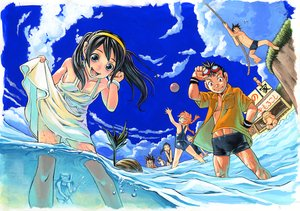 Rating: Safe Score: 33 Tags: ball beach blue_eyes brown_hair dress group long_hair sky swimsuit water User: alcuin