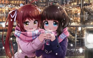 Rating: Safe Score: 27 Tags: 2girls asahina_kokomi battle_girl_high_school blue_eyes brown_hair building city drink hasumi_urara long_hair orange_eyes red_hair scarf tamanegi_(12030028) tree twintails water User: mattiasc02