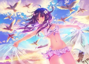 Rating: Safe Score: 156 Tags: animal anthropomorphism bikini bird breasts carnelian cleavage clouds kantai_collection long_hair navel pink_eyes purple_hair see_through sky swimsuit taigei_(kancolle) tree watermark User: BattlequeenYume