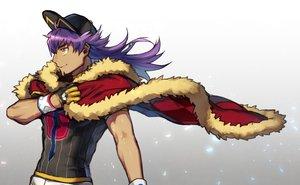 Rating: Safe Score: 8 Tags: all_male cape dande_(pokemon) dark_skin gloves gradient hat long_hair male pokemon purple_hair wristwear yellow_eyes yukibi User: otaku_emmy