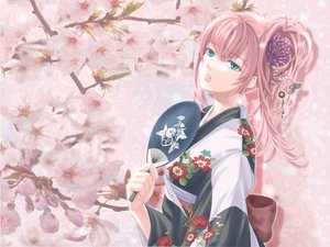 Rating: Safe Score: 84 Tags: blue_eyes fan japanese_clothes kimono long_hair megurine_luka pink_hair vocaloid User: mihaela94