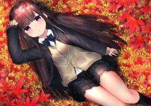 Rating: Safe Score: 54 Tags: autumn blush brown_hair kneehighs leaves long_hair neku_(neku_draw) original pink_eyes seifuku User: luckyluna