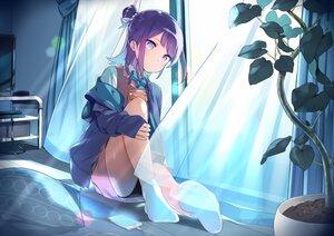 Rating: Safe Score: 56 Tags: aliasing bow hanayori_jyoshiryou hoodie kohigashi_hitona leaves night panties phone purple_eyes purple_hair sama school_uniform short_hair skirt socks underwear User: otaku_emmy