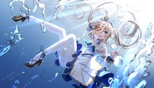 Rating: Safe Score: 65 Tags: barbara_(genshin_impact) blonde_hair blue_eyes bubbles genshin_impact hat lazy_guang_guang long_hair pantyhose signed twintails underwater water wink User: mattiasc02