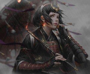 Rating: Safe Score: 211 Tags: armor black_eyes black_hair gloves guweiz headdress japanese_clothes jpeg_artifacts original rain realistic samurai short_hair umbrella water User: luckyluna