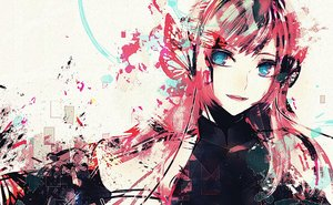 Rating: Safe Score: 64 Tags: aqua_eyes butterfly close headphones long_hair megurine_luka nyakkunn pink_hair polychromatic vocaloid User: FormX