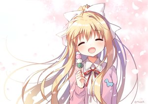 Rating: Safe Score: 68 Tags: air blonde_hair blush bow food kamio_misuzu long_hair mauve petals ponytail ribbons signed waifu2x User: otaku_emmy