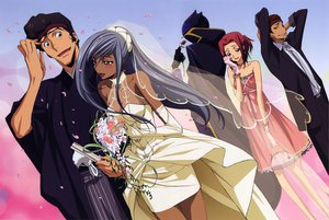 Rating: Safe Score: 31 Tags: code_geass dress flowers kallen_stadtfeld lelouch_lamperouge male ougi_kaname rose tamaki_shinichiro viletta_nu wedding_attire User: 秀悟