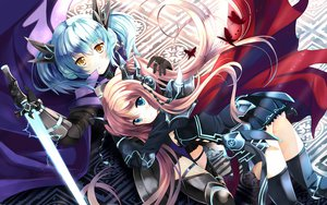 Rating: Safe Score: 156 Tags: 2girls aqua_hair armor blue_eyes brown_hair cape cardfight!!_vanguard long_hair macha_(cardfight_vanguard) sword tartu_(cardfight_vanguard) thighhighs twintails weapon xephonia yellow_eyes User: opai