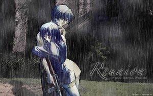 Rating: Safe Score: 43 Tags: blue_hair chidori_kaname full_metal_panic gun hug long_hair rain sagara_sousuke water watermark weapon User: Oyashiro-sama