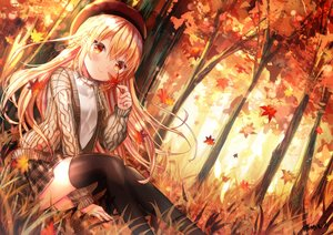 Rating: Safe Score: 75 Tags: autumn forest grass kohaku_muro leaves original thighhighs tree User: BattlequeenYume
