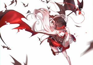 Rating: Safe Score: 45 Tags: arknights fang gloves hat long_hair pointed_ears red_eyes vampire warfarin_(arknights) white white_hair wings yumuto User: Nepcoheart