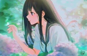 Rating: Safe Score: 65 Tags: black_hair blush butterfly chitanda_eru close flowers hyouka long_hair mery_(apfl0515) purple_eyes school_uniform signed User: otaku_emmy