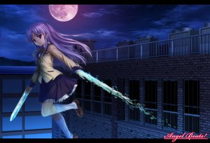 Rating: Safe Score: 64 Tags: angel_beats! jpeg_artifacts kneehighs long_hair moon moonknives night purple_hair red_eyes skirt sky tachibana_kanade weapon User: Tensa