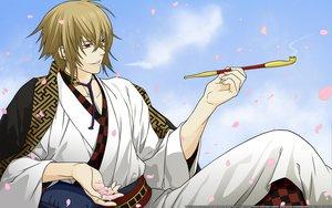 Rating: Safe Score: 15 Tags: all_male blonde_hair hakuouki_shinsengumi_kitan japanese_clothes kazama_chikage kimono male petals red_eyes short_hair User: Maboroshi