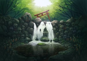 Rating: Safe Score: 24 Tags: forest nobody original scenic shrine sudzuke torii tree water waterfall User: FormX