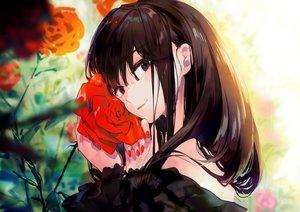 Rating: Safe Score: 57 Tags: black_eyes black_hair close flowers ka-no long_hair original rose User: Dreista