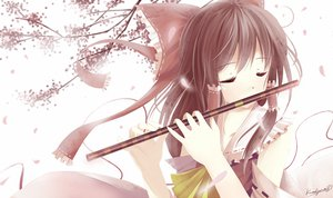 Rating: Safe Score: 96 Tags: brown_hair caidychen flute hakurei_reimu instrument japanese_clothes long_hair miko ribbons touhou User: HawthorneKitty