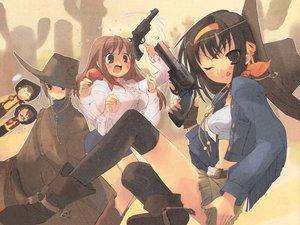 Rating: Safe Score: 43 Tags: asahina_mikuru blue_hair cowgirl gun itou_noiji koizumi_itsuki kyon male nagato_yuki suzumiya_haruhi suzumiya_haruhi_no_yuutsu weapon User: Oyashiro-sama