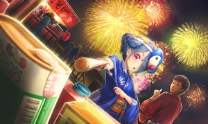 Rating: Safe Score: 9 Tags: blue_hair brown_eyes candy festival fireworks japanese_clothes male mask night original pink_eyes ponytail tagme_(artist) User: RyuZU