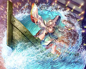 Rating: Safe Score: 114 Tags: gray_eyes gray_hair hat japanese_clothes long_hair mononobe_no_futo om_(carbohydratism) ponytail ribbons touhou water User: opai