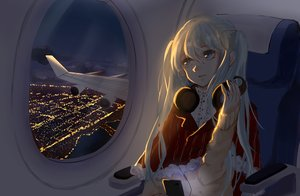 Rating: Safe Score: 52 Tags: aircraft city hatsune_miku headphones ipod long_hair night scenic tagme_(artist) twintails vocaloid User: luckyluna