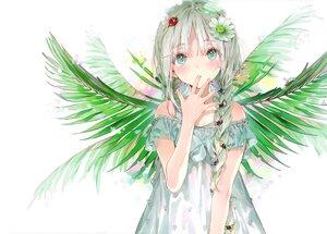 Rating: Safe Score: 63 Tags: braids dress dsmile flowers gray_hair green_eyes original scan twintails white User: BattlequeenYume