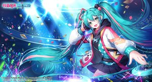 Rating: Safe Score: 39 Tags: applecaramel_(acaramel) aqua_hair green_eyes hatsune_miku headphones hoodie logo long_hair music skirt thighhighs twintails vocaloid User: otaku_emmy