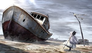 Rating: Safe Score: 4 Tags: boat building long_hair ruins ryosios weapon white_hair User: luckyluna