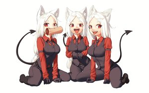 Rating: Safe Score: 47 Tags: animal_ears blush boots cat_smile cerberus_(helltaker) doggirl fang food gloves helltaker kaos_(998) long_hair red_eyes suit tail tie white white_hair User: otaku_emmy