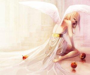 Rating: Safe Score: 189 Tags: aka_tonbo_(lovetow) angel apple blonde_hair food fruit long_hair original wings User: opai