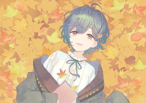 Rating: Safe Score: 56 Tags: autumn book green_eyes green_hair kuroyuki leaves original short_hair User: otaku_emmy