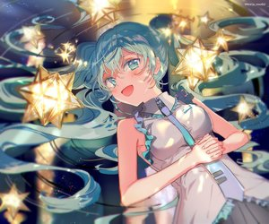 Rating: Safe Score: 54 Tags: aqua_eyes aqua_hair blush hatsune_miku long_hair makoji_(yomogi) reflection skirt stars tie twintails vocaloid water watermark User: otaku_emmy