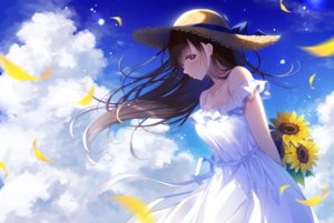 Rating: Safe Score: 110 Tags: blush brown_eyes brown_hair clouds dress flowers long_hair noda_shuha original petals ribbons sky summer summer_dress sunflower User: Dreista