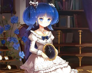 Rating: Safe Score: 178 Tags: anmi aqua_eyes blue_hair cropped dress flowers glasses rose scan twintails User: Wiresetc