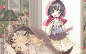 Rating: Safe Score: 74 Tags: 2girls alice_blanche black_hair blonde_hair blue_eyes gray_eyes ikoku_meiro_no_croisee little_red_riding_hood loli takeda_hinata yune_(ikoku_meiro_no_croisee) User: meccrain