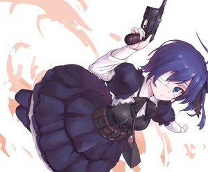 Rating: Safe Score: 183 Tags: blue_hair chuunibyou_demo_koi_ga_shitai! dress eyepatch gun nightmaremk2 takanashi_rikka weapon User: opai