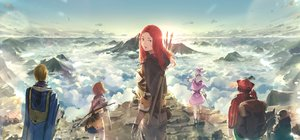 Rating: Safe Score: 44 Tags: armor bow_(weapon) clouds group original red_hair sky somehira_katsu staff sword weapon User: FormX