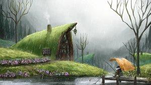 Rating: Safe Score: 120 Tags: building flowers grass hirokima original rain scenic sport tree water User: otaku_emmy