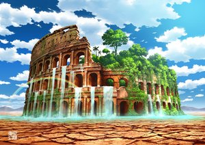 Rating: Safe Score: 70 Tags: clouds forest nobody original rainbow ruins scenic sky tokyogenso tree water waterfall watermark User: otaku_emmy