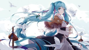 Rating: Safe Score: 221 Tags: animal aqua_eyes aqua_hair bell bird blush braids cape clouds dress flowers hatsune_miku hoodie kyod+ long_hair ribbons rose tears twintails vocaloid watermark User: RyuZU