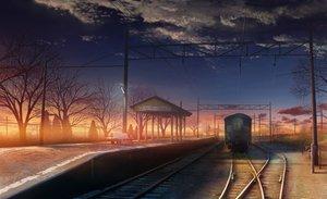 Rating: Safe Score: 250 Tags: clouds monorisu original scenic sunset train tree User: 02