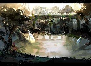 Rating: Safe Score: 77 Tags: grass kyouichi original pixiv_fantasia ruins scenic sky tree umbrella water User: STORM