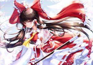 Rating: Safe Score: 38 Tags: blush bow brown_eyes brown_hair chyopeuteu hakurei_reimu japanese_clothes long_hair miko ofuda skirt touhou User: BattlequeenYume
