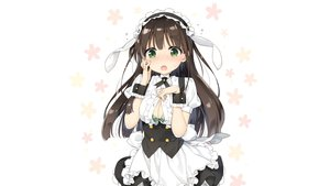 Rating: Safe Score: 164 Tags: blush bra breasts brown_hair cleavage gochuumon_wa_usagi_desu_ka? green_eyes headdress long_hair maid peko third-party_edit ujimatsu_chiya underwear uniform white User: Dummy