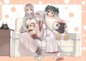 Rating: Safe Score: 30 Tags: anthropomorphism brown_eyes couch gray_hair green_hair headband kantai_collection loli long_hair sensen shoukaku_(kancolle) signed twintails zuikaku_(kancolle) User: RyuZU