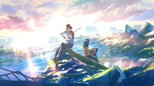 Rating: Safe Score: 39 Tags: black_hair brown_hair clouds goroku instrument landscape male original scenic shirt short_hair sky violin water User: BattlequeenYume
