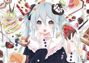 Rating: Safe Score: 117 Tags: blue_eyes blue_hair cake candy chocolate food fruit hatsune_miku long_hair mia0309 orange_(fruit) pocky strawberry twintails vocaloid waifu2x User: otaku_emmy