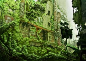 Rating: Safe Score: 134 Tags: building car city green jpeg_artifacts landscape original ruins scenic tokyogenso User: RyuZU